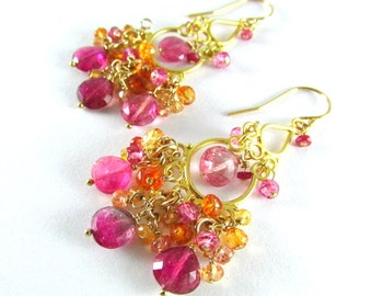 Pink Tourmaline With Sapphire And Quartz Gold Filled Cluster Chandelier Earrings