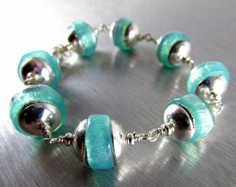 25OFF Chunky Aqua Lampwork Beads And Sterling Silver Magnetic Clasp Bracelet