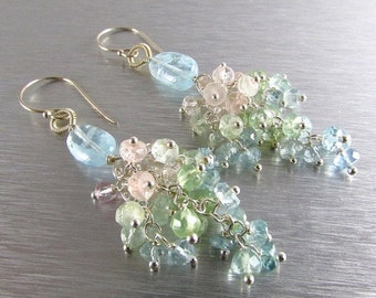 25% Off Aquamarine Cluster Sterling Silver Earrings