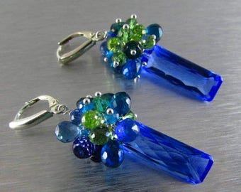 25% Off Cobalt Blue Topaz With Peridot and Quartz Gemstone Sterling Silver Earrings