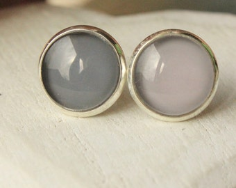 TWO PAIRS Grey earrings, light and dark gray earrings, 12mm Round earring Stud or clips, one pair of each color of grey E80