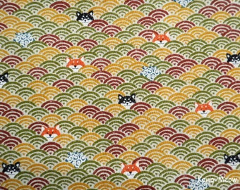 Cute Kimono Fabric -Wave Pattern Dogs on Brown - Fat Quarter (nu170418)