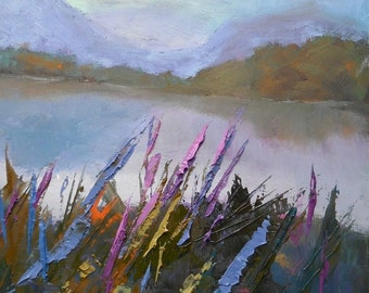 """Expressionist Art, Small Oil Painting, Expressionist Landscape Painting, 6x8"""" Original Landscape"""