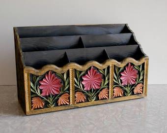 faux bois desk organizer, vintage plastic letter caddy, folk art carved wood style, bright and black accessory, pen pencil holder, 1970s