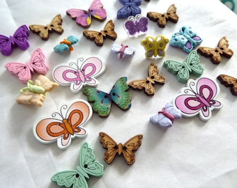 Butterfly Buttons Asst (25) Crafts, New, Colorful, Fun Pack, Summer Fun, Baubles, Kids