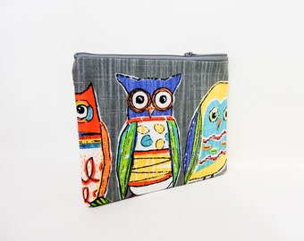Owl Zipper Pouch, Fabric Pouch, Cute Zipper Pouch, Clutch, Cosmetic Bag, Pouch, Gift for Her, Gift Under 20, Colorful Owls Zipper Case