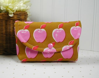 Snap Pouch, Large Snap Pouch, Cosmetic Pouch, Accessory Pouch... Apples in Pink, Melody Miller