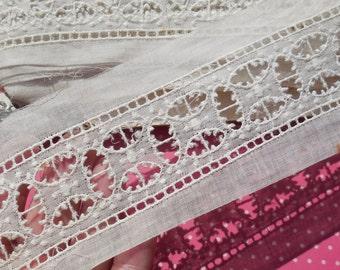 Antique Lace Vintage Lace Trim Insertion Lace Cotton Batiste Whitework