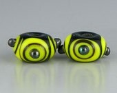 matched earring set yellow & black with silvery raised dots handmade lampwork glass beads - Bzzz