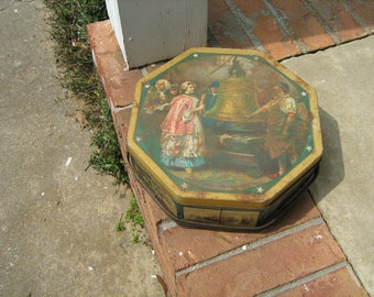 vintage Sunshine Biscuit tin Octagon Metal with handle