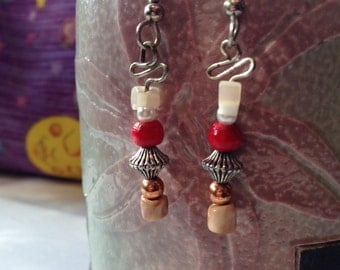 Red Wooden Beaded and Silver Drop Earrings