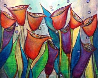 Large Painting Whimsical Flowers Red Tulips Floral Canvas MORNING DEW Boho Painting by Luiza Vizoli