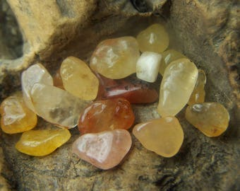 Azeztulite small pieces - stone chip pebble - Golden yellow orange gold Quartz - vial necklace size - by the gram tiny tumbled crystal