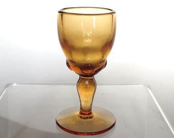 Moondrops Amber Glass Cordial Depression Glass by New Martinsville Glass