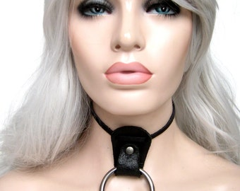 Lux leather collar choker, Oring fetish, Extravagant oring choker by Renegade Icon Designs