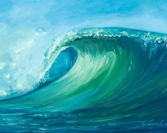 5x7 Greeting Card by Daina Scarola (surf art, wave, ocean)