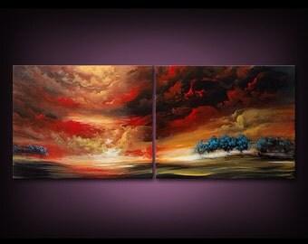 Original Art painting tree painting surreal art painting abstract wall art orange red sunset blue bird stars whimsical art 16 x 40