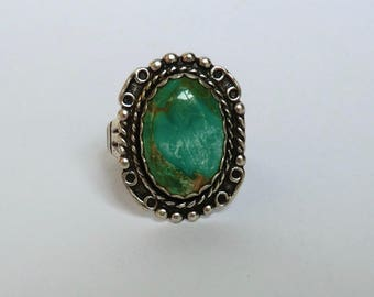 CUSTOM ORDER S COVE Vintage Turquoise Sterling Ring Maisel Trading Co Oval Turquoise Size 8