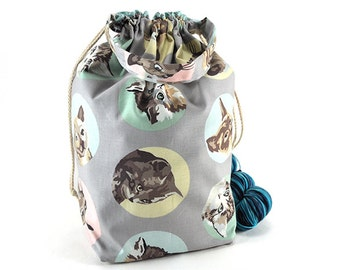 Large Knitting Crochet Project Bag - Tom Cats
