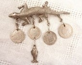 RESERVED for Annie ======================== Antique Sterling Lizard Brooch with Bolivian coins