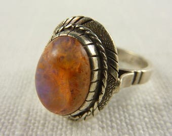Vintage Sterling Mexican Fire Opal Handmade Ring with Intricate Band Size 7