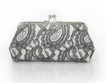 Grey and Ivory Alencon Paisley Lace Clutch | Bridal Clutch | Personalized Gift for Mom