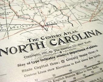 Antique Map of North Carolina - 1897 Century Atlas Map
