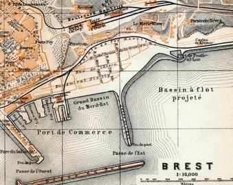 Antique Map of Brest, France - 1905 Vintage City Map - Old City Map