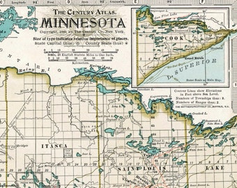 Antique Map of Minnesota - 1897 Vintage Map