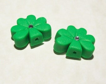 Shamrock Polymer Clay Beads Small Size with Matte Finish - Vertical Hole