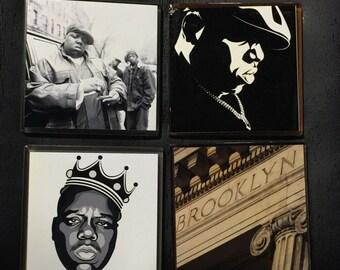 Biggie Smalls - Notorious BIG / Brooklyn / Glass Photo Coasters (4) Piece Set /  Hip Hop Gift/ Handmade/