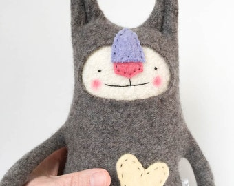 Wool Stuffed Animal Lanky Cat from Upcycled Sweater