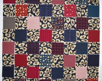 "COUPON CODE SALE - 64 Cowboy 5"" Die-Cut Charm Squares, 100% Cotton Quilt Fabric, Red, Navy, Plaid, Quilting, Baby Quilt Top Kit (#2)"