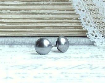 Gray Pearl Earrings Pearl Stud Earrings Gray Studs Surgical Steel Studs Pearl Post Earrings