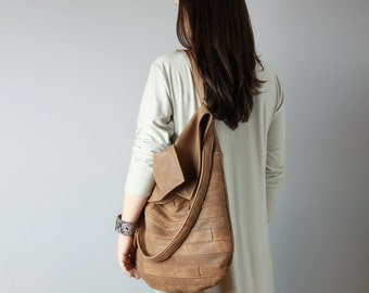 Leather hobo in distressed chestnut color - big slouchy hobo, brown hobo bag, crossbody hobo, everyday leather tote