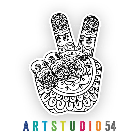 Weatherproof Vinyl Sticker - Henna Peace Hand, Unique, Fun Sticker for Car, Luggage, Laptop - Artstudio54