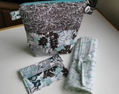 Cosmetic Travel Set, Medium Zipper Pouch, Makeup Roll Up Carrier, Small Wallet, Toiletry Storage, Gift For Her, Travel Accessories