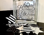 60th Birthday Wish Block - Wish Jar - Black and Silver Themed or choose your colors! Unique Guest Book for a Birthday Party