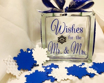 "Winter Wedding Guest Book Wish Block - Glass with ""Wishes for the Mr. & Mrs."" - Personalized - Paper Snowflakes in Silvers Royal Cobolt Blue"