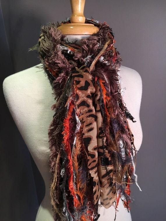 Fringie in Rustic Cheetah, All Fringe Scarf, animal print hand-tied fringe scarf, fur scarves, fringe fashion, Boho scarf, gypsy scarf