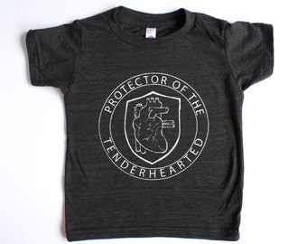 PROTECTOR of the TENDERHEARTED - tender heart -  kids Valentine's Day - graphic tee - boys - girls - handprinted - anatomical heart - love
