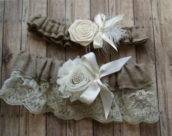 Bridal Garters Burlap Wedding Garter Set LACE WEDDING bridal accessories ivory garder
