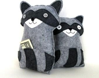 tooth fairy pillow raccoon pocket pillow felt