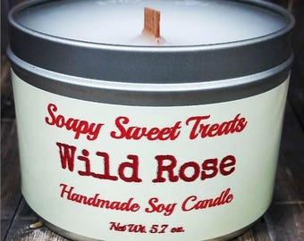 WILD ROSE Handmade Scented Soy Candle 5.7 oz Free Shipping, Rose Scented Candle, Rose Soy Candle, Wood Wick, For The Home, Tin, Container