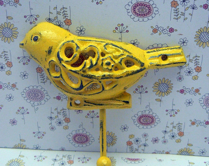 Bird Cast Iron Wall Hook Shabby Chic Yellow Nursery Home Decor