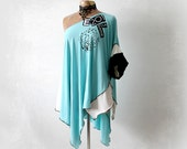Grecian Style Top Stretch Jersey Blue Draped Blouse Upcycled Clothes Off Shoulder Women's Boho Shirt Layered Lagenlook Clothing M L 'MADDIE'