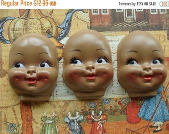 ON SALE Large Black Dimpled Creepy Vintage Doll Faces