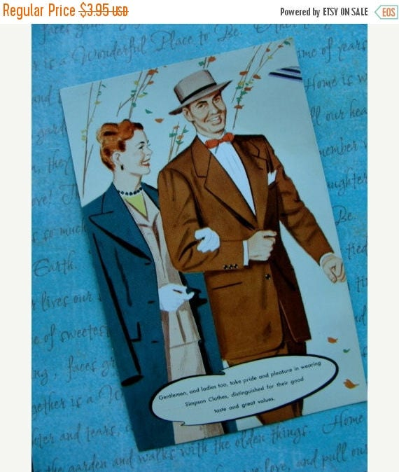 ONSALE Awesome Advertisement Vintage Mad Man Type unused Postcard for Simpson Tailored Clothing Mercantile