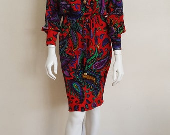 vtg RARE Red Paisley Print LEONARD Button Front Belted Shirt Dress M