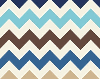 "SALE FABRIC - Sporty Chevron by Riley Blake, #C780-03 Sporty, Wide 1"" Chevron Zig Zag Fabric - Brown, Tan, Cream, Navy Blue, Aqua Chevron"